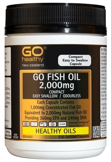 Go Healthy GO Fish Oil Odourless 2000mg (230 Capsules)