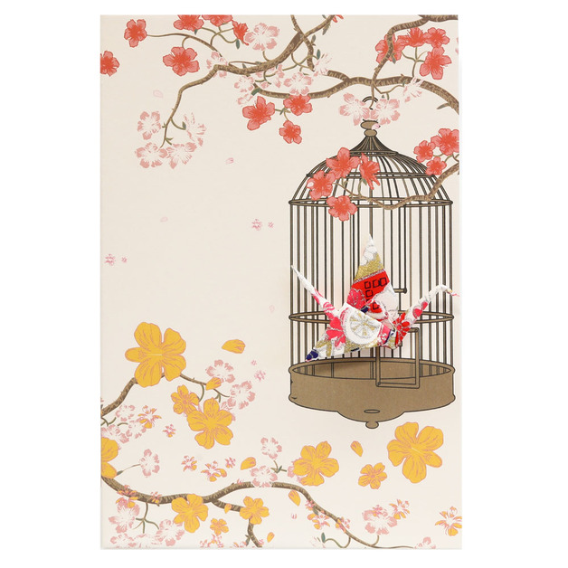 Short Story: Card Crane in Cage Flowers Gold