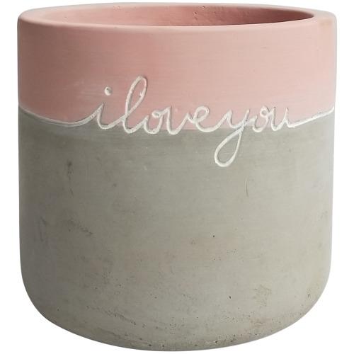 Message Planter: I Love You - Pink/Grey (12cm)