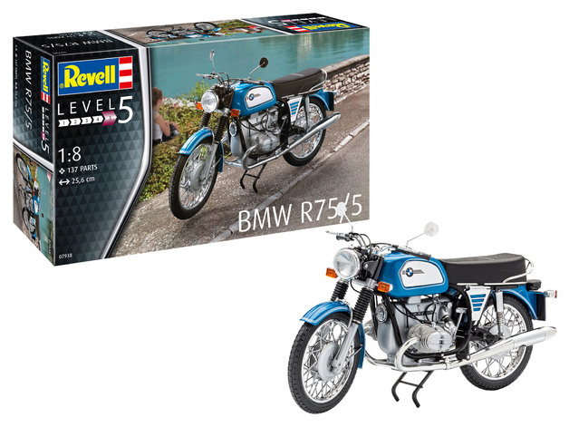 Revell: US BMW R75/5 Motorcyle - 1:8 Scale Model Kit