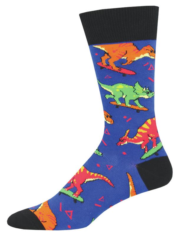 Socksmith: Men's Skate Or Dinosaur Crew Socks - Blue