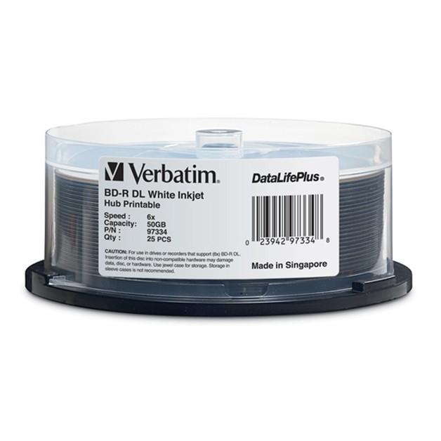 Verbatim BD-R DL 50GB Spindle Wide White Inkjet 6x (25 Pack)