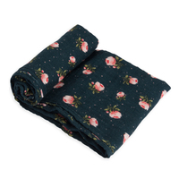 Little Unicorn - Single Cotton Muslin Swaddle - Midnight Rose