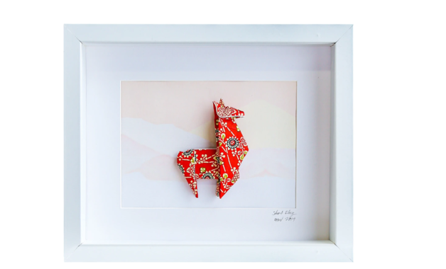 Small White Frame Llama (Red)