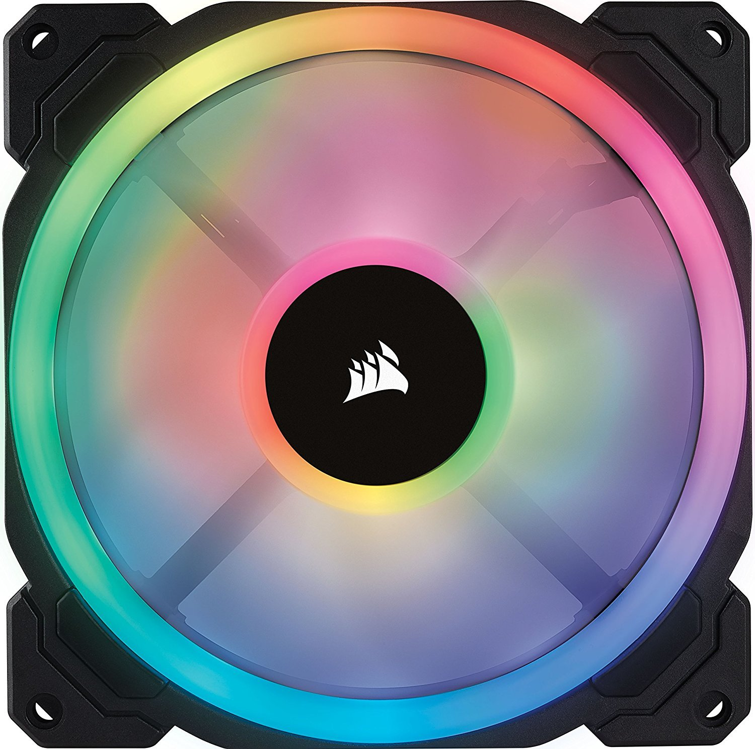 Corsair LL Series LL140 RGB 140mm Dual Light Loop RGB LED PWM Fan — 2 Fan Pack With Lighting Node Pro Controller image