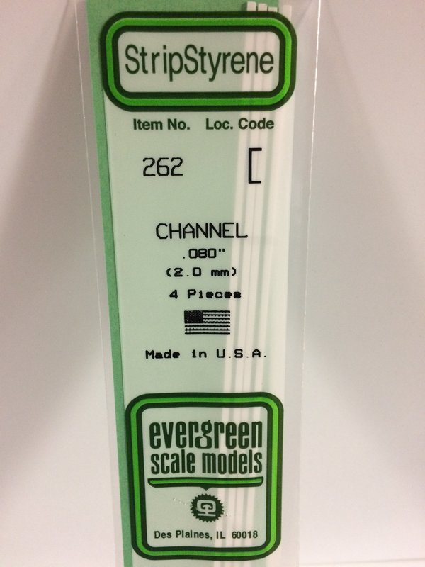 Evergreen Styrene Channel 35cm Long X 2 mm (4)