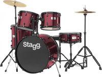"""Stagg 5 Piece Drum Set 22"""" (BK H/WARE)+Cym/Throne Wine Red"""