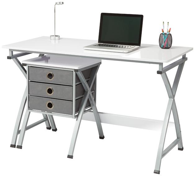 Brenton X Cross Desk & Filing Unit - White