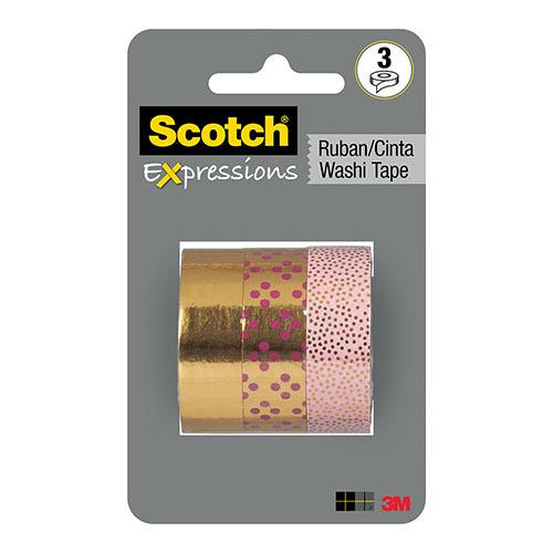 Scotch Expressions: Foil Washi Tape Multi Pack - Gold (15mm x 7m) image
