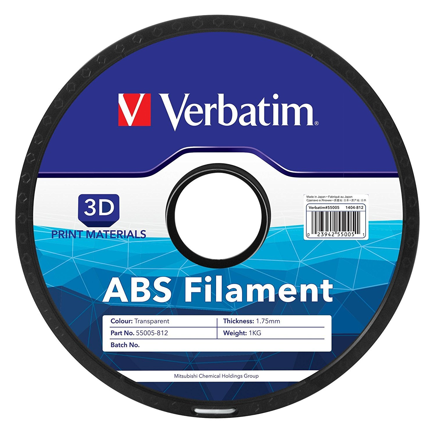 Verbatim 3D Printer ABS 1.75mm Filament - 1kg Reel (Transparent) image