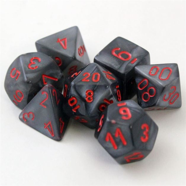 Chessex Signature Polyhedral Dice Set Velvet Black/Red