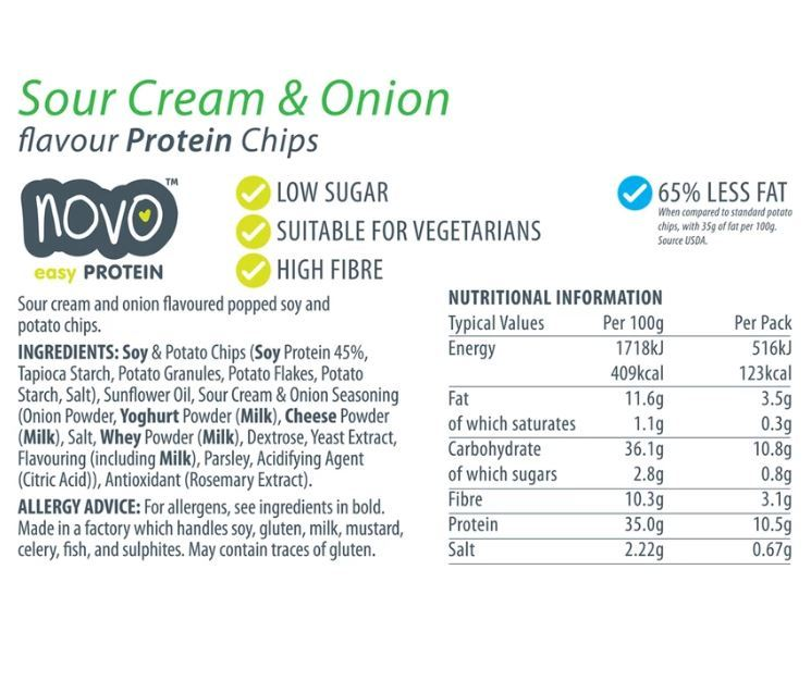 Novo Protein Chips - Sour Cream + Onion (30g) image