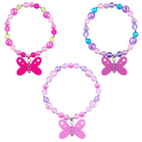 Pink Poppy: Butterfly Frosted Bead Bracelet - (Assorted Designs)