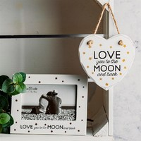 Sass & Belle: Heart-Shaped Plaque - Love You To The Moon image