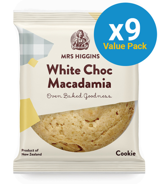 Mrs Higgins: White Choc Macadamia Cookie 85g (9 Pack)