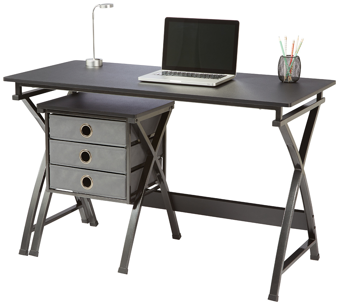 Brenton X Cross Desk & Filing Unit - Black image