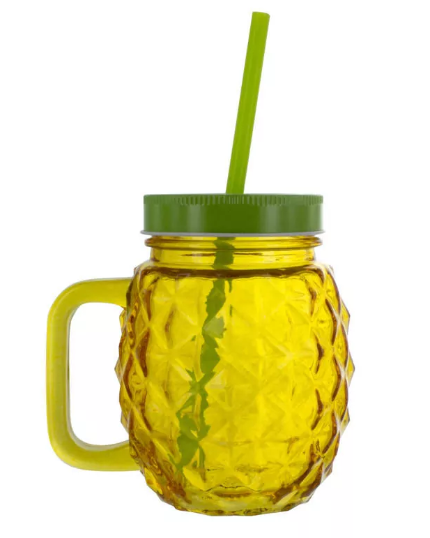 Pineapple Glass and Straw