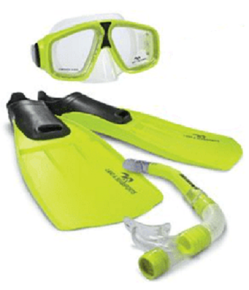 Land & Sea Adventure Mask/Snorkel/Fin Set - Small (Yellow/Neon)