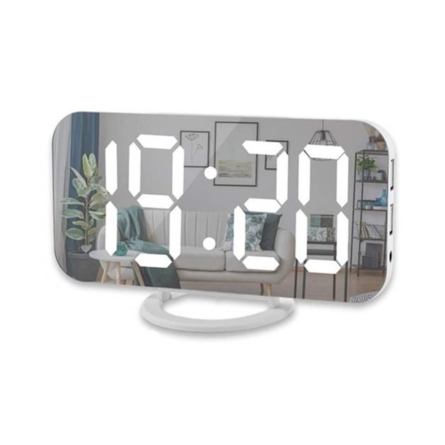 7-in-1 LED Mirror Alarm Clock USB Charging Ports
