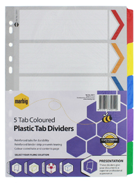 Marbig A4 Board 5 Tab Reinforced Dividers - Coloured
