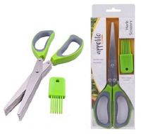 Appetito: Stainless Steel 5 Blade Herb Scissors - Green/Grey
