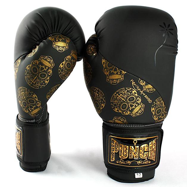 Punch Urban Boxing Gloves 12oz - Black & Gold Skulls