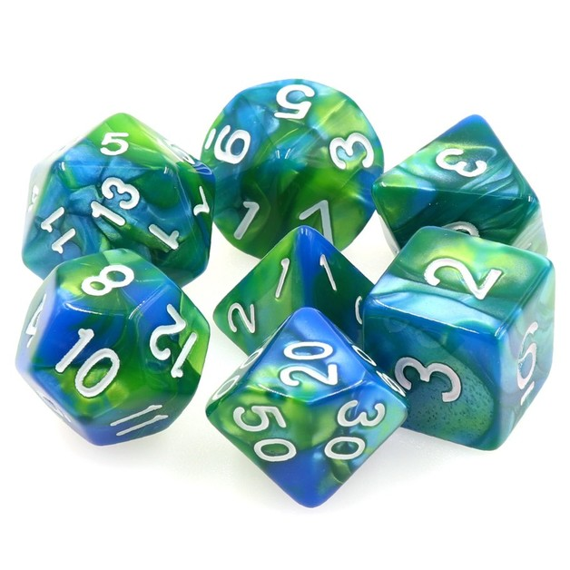 Siren's Call Fusion Polyhedral Dice Set- Blue/Green