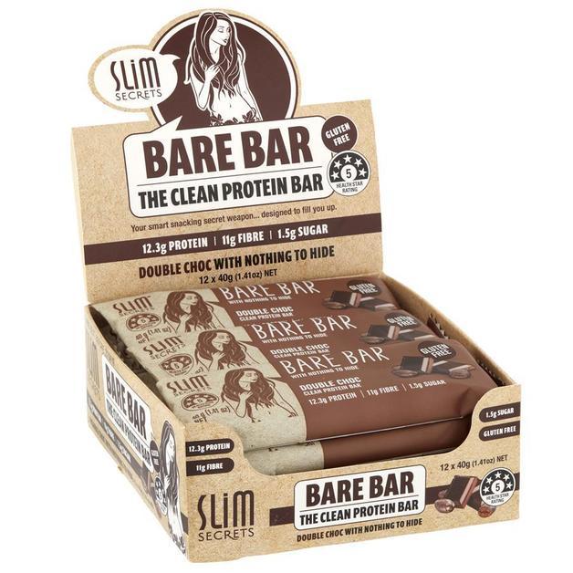 Slim Secrets 'Bare Bar' Clean Protein Bars - Double Chocolate (12x40g)