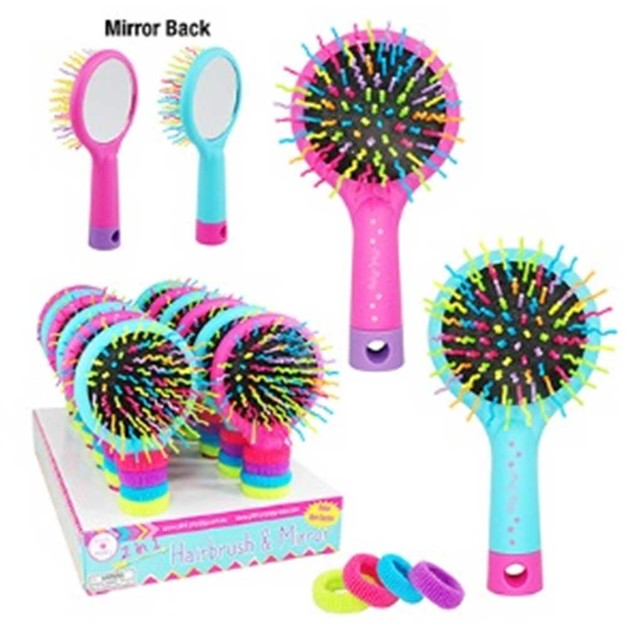 Hairbrush with Elastics - Assorted Colours