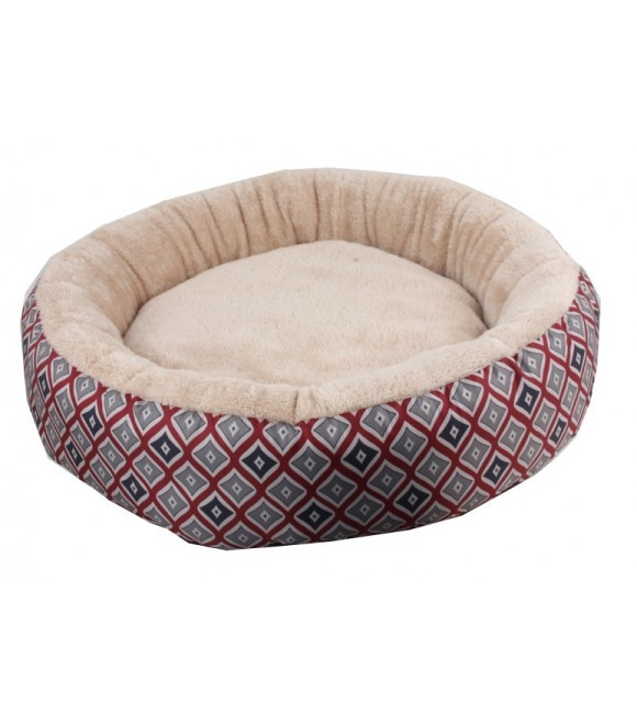 Pawise: Round Dog Bed - Red 25""