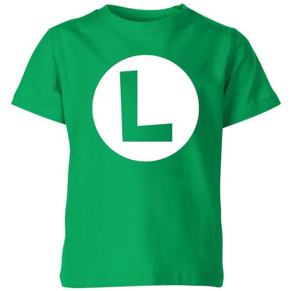 Nintendo Super Mario Luigi Logo Kids' T-Shirt - Kelly Green - 7-8 Years image