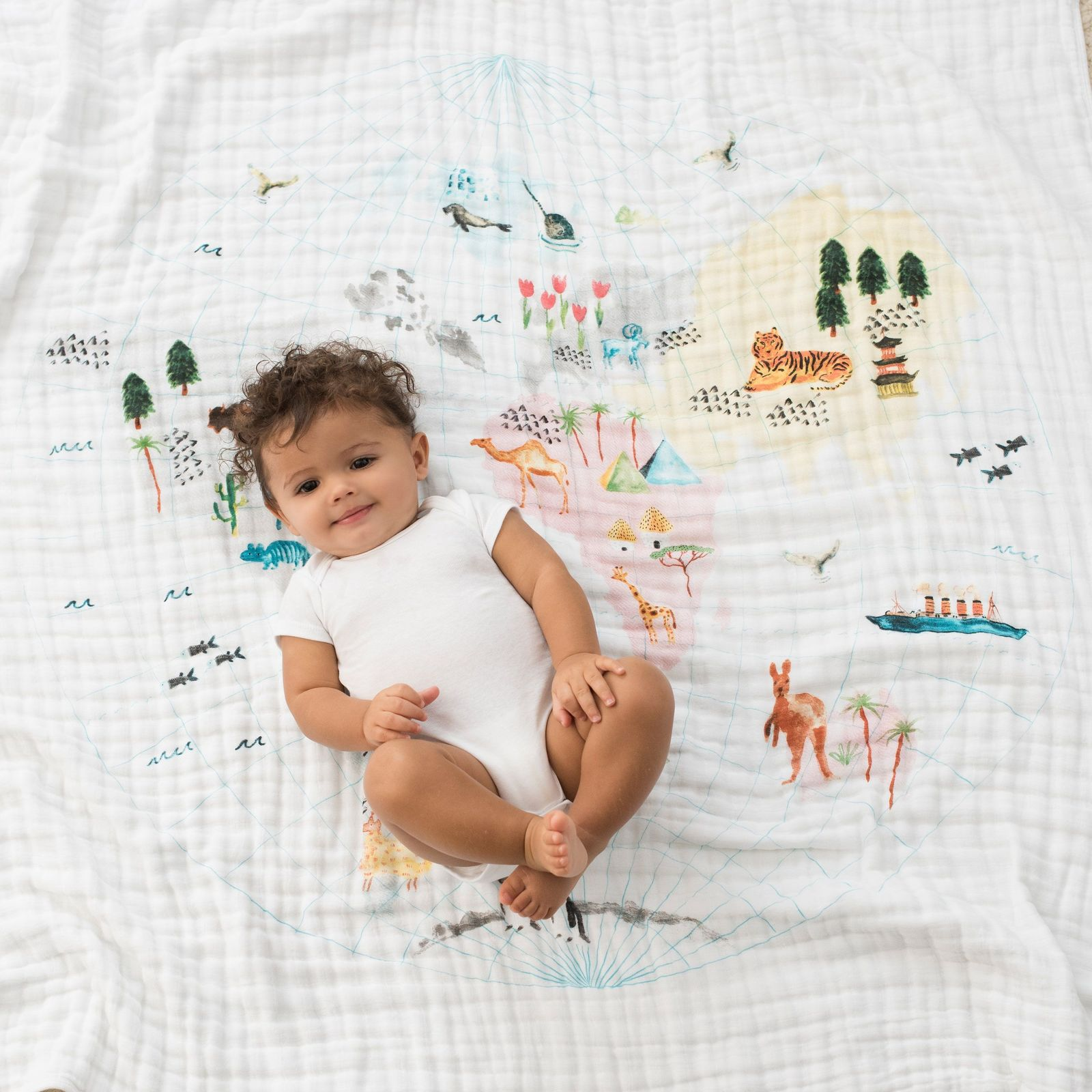 Aden + Anais: Classic Dream Blanket - Around The World - Engineered Map image
