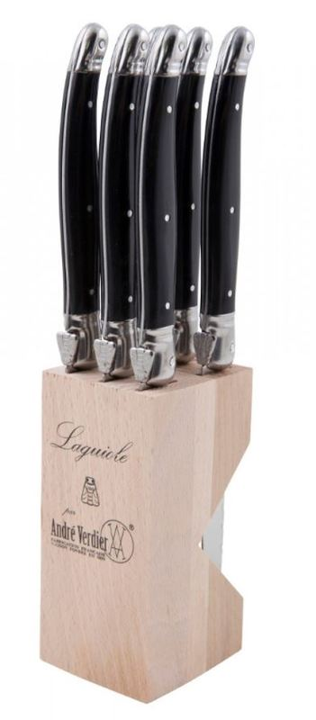 Andre Verdier Laguiole Debutant Steak Knife Set - Black (6pc)