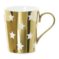 Miss Etoile: Large Coffee Mug - Gold/White Stars