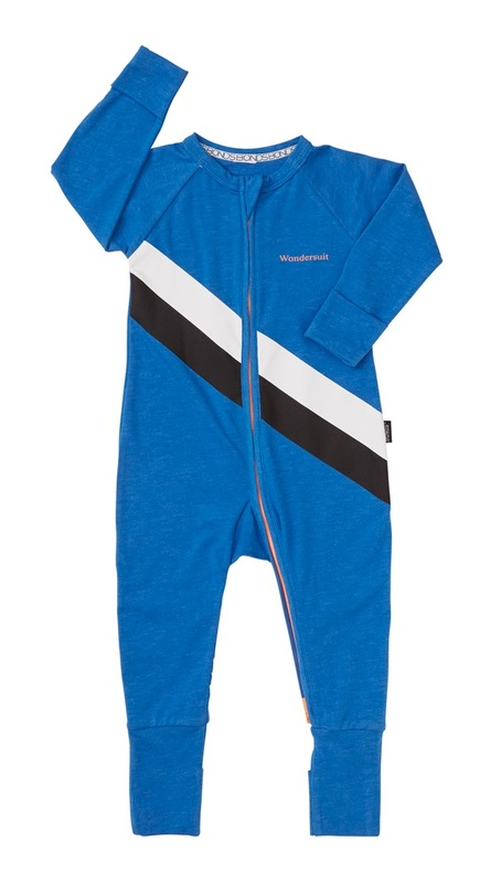 Bonds Sport Zip Wondersuit - Stripe Ultrablue (3-6 Months)