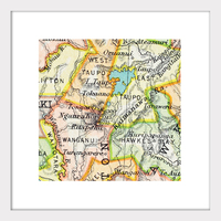 Central Plateau Vintage Map Print - Framed