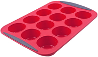 Silicone 12 Cup Muffin Pan - Red