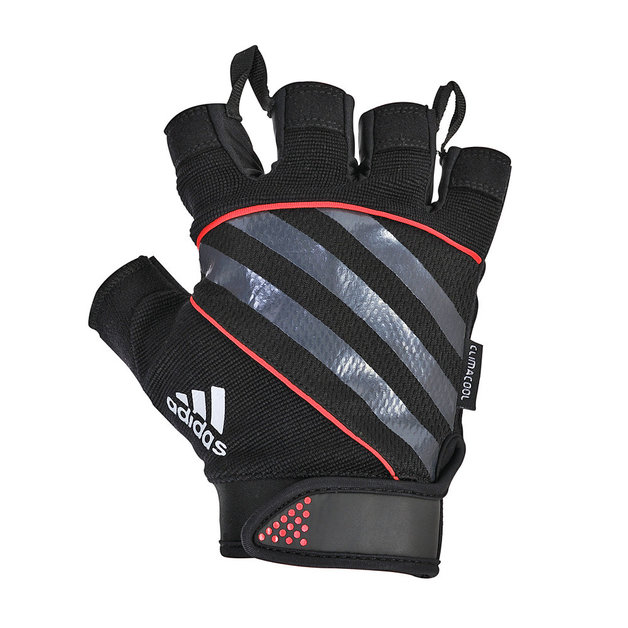 Adidas Fingerless Performance Gloves - Small (Red)