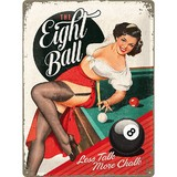Retro Metal Pin Up Sign - The Eight Ball