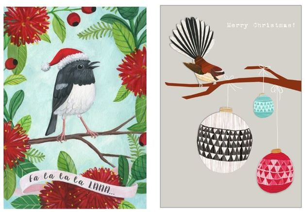 Tanya Wolfkamp: New Zealand Christmas Note Cards - Robin & Fantail (Pack 8)