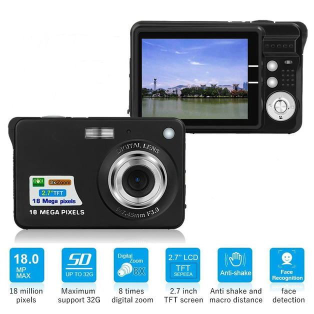 Ape Basics: Portable Mini 8x Zoom TFT LCD HD Digital Camera - Black