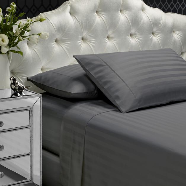 Style & Co: Egyptian Cotton Stripe Sheet Set - Mega Queen (Granite)