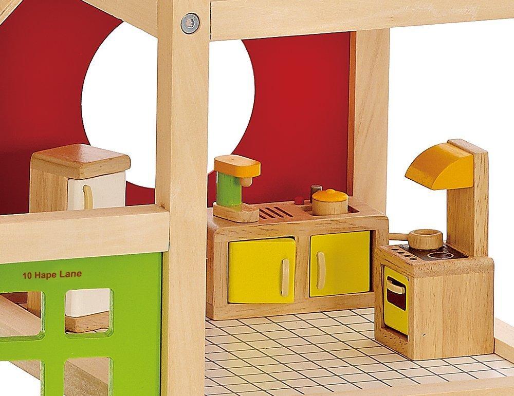 Hape: All Season Wooden Dolls House - Furnished image