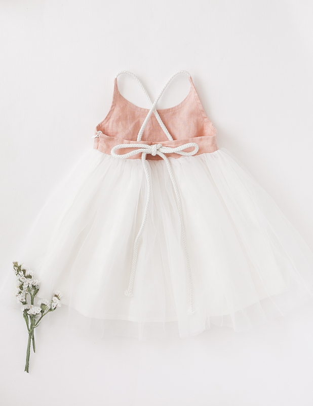 Karibou Kids: Willa Reversible Linen Tutu Dress - Peach Orchard 5YRS