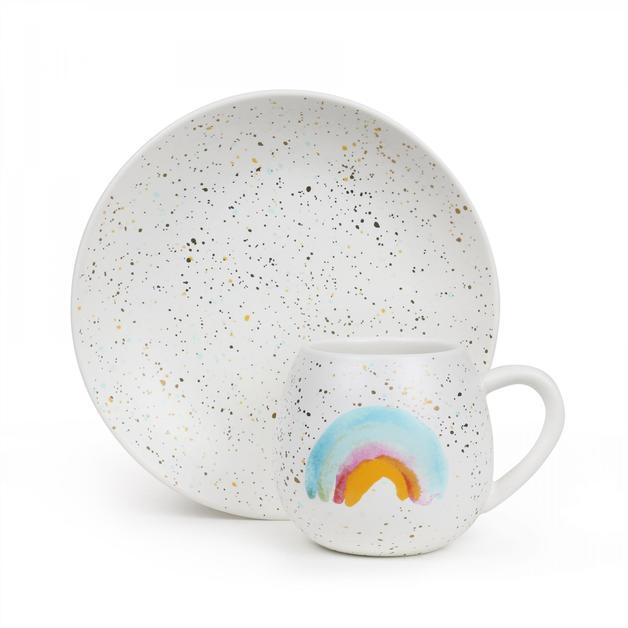 Mini Hug Me Mug and Plate Set - Rainbow & Gold Splatter