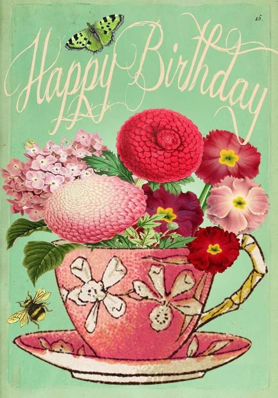 Madam Treacle: Pink Teacup Birthday Card