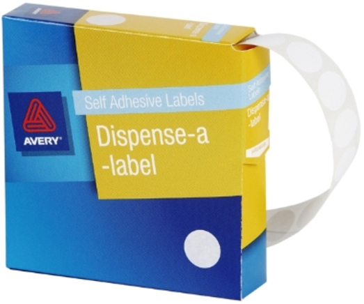 Avery White 14mm Diameter Circle Dispenser Labels Pkt1200