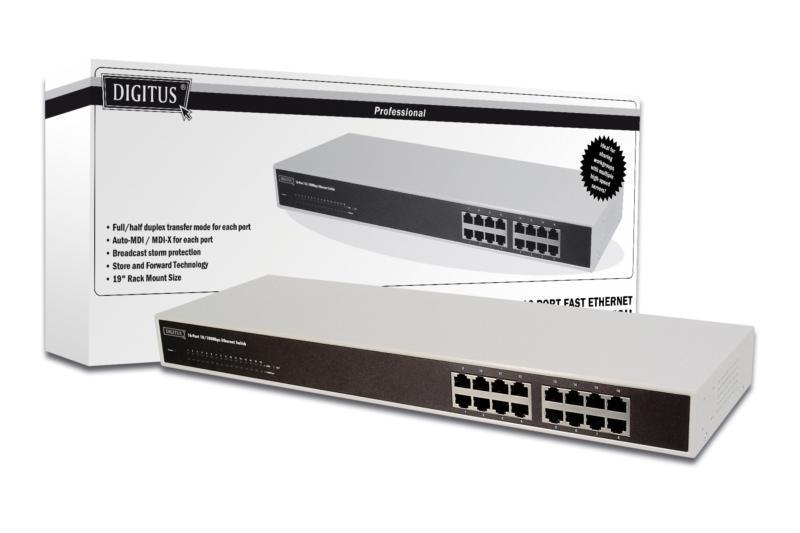 Digitus 16 Port 10/100 Switch 19INCH image