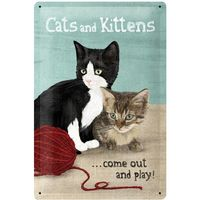 Nostalgic Art: Tin Sign - Cats + Kittens
