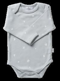 Babu: Organic Envelope Neck Sleeved Bodysuit - Coastal Blue Star (0-3m) image